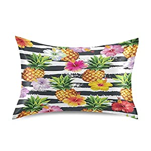 "Blueangle Hibiscus Flowers Pineapples Pillowcase with Envelope Closure for Hair and Skin, Soft Breathable Smooth Both Sided Silk Pillow Cover(Standard 20""×26"",1pcs)"