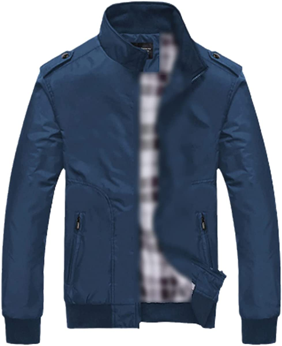 Men's Jacket Spring And Autumn Casual Jacket Solid Color Stand-Up Collar Slim Jacket Bomber Jacket