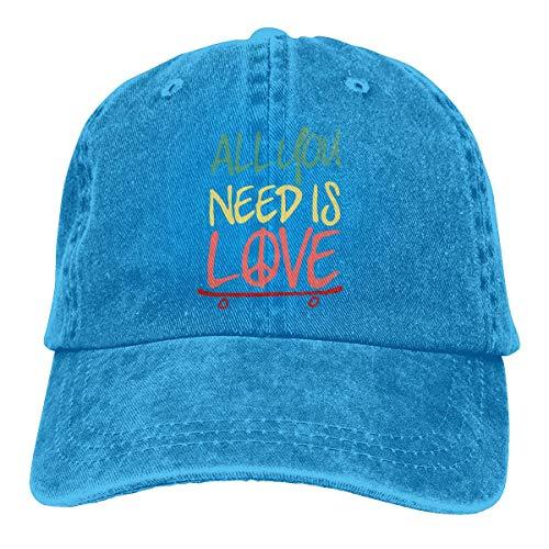 XCNGG Männer/Frauen Alles, was Sie brauchen, ist Liebe Skateboard Baumwolle Denim Baseball Cap Verstellbare Hip Hop Caps