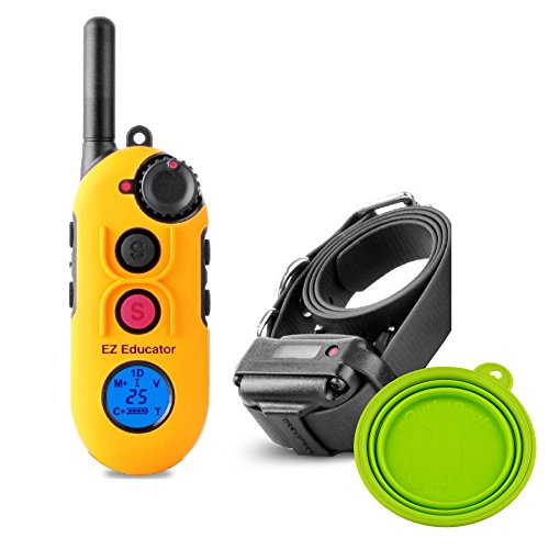 Educator Easy EZ-900 E-Collar Remote Dog Training System 1/2 Mile with Vibration, Tapping, Pavlovian Stimulation - Waterproof and Shock Resistant - Includes eOutletDeals Travel Bowl (1 Dog)