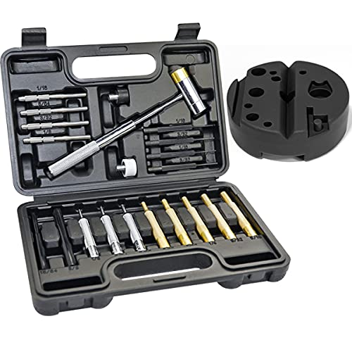 BESTNULE Roll Pin Punch Set, Gunsmithing Punch Tools, Made of Solid Material Including Steel Punch and Hammer with Bench Block, Ideal for M1911 and Other Pistols with Organizer Storage Container