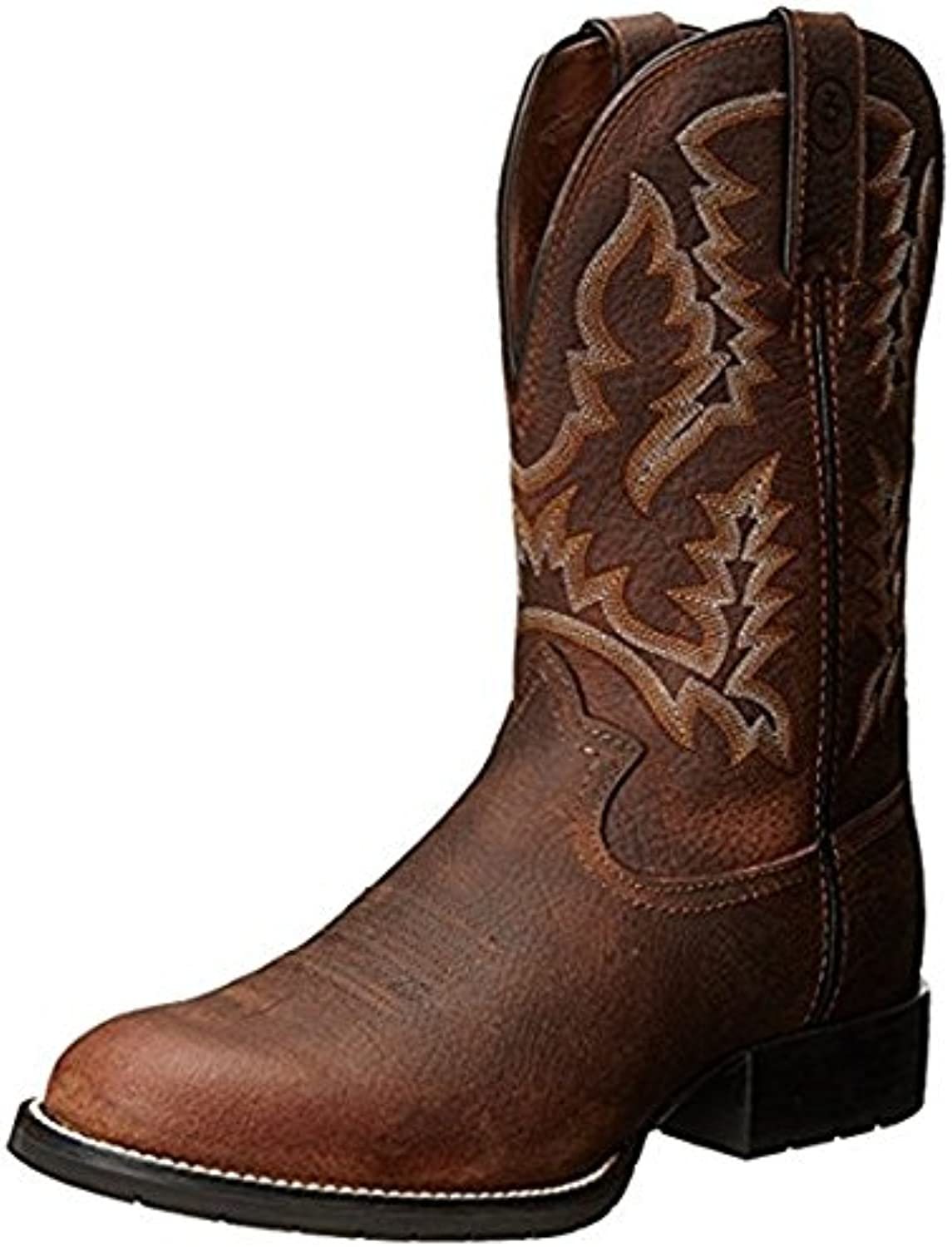 Tony Lama Men's CORING 11  Height (RR3214)   Foot Brown Pitstop   Pullon Western Boots   Browns Cowboy Leather Boot   Handcrafted in The USA