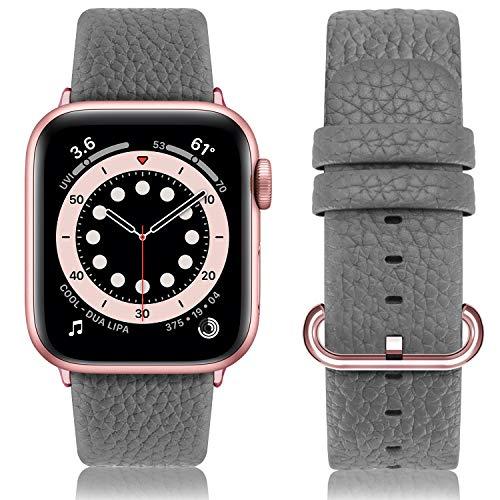 Fullmosa Cinturino per Apple Watch 38 mm/40 mm, Cinturino Pelle Compatibile con Apple Watch Serie SE 6 5 4 3 2 1, Sport, Nike+, Hermès, Edition, Grigio + Fibbia in Oro Rosa