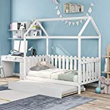 Wooden Daybed with Trundle, House Bed Twin Size with Fence-Shaped Guardrail for...