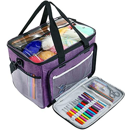 LIHAO Bolsa de lana para tejer, bolsa para hilo hecha a mano, bolsa para almacenar lana, agujas de tejer, agujas de ganchillo