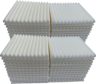 48Pcs Acoustic Foam Tiles Soundproofing Foam Panels Sound Insulation Sponge Soundproof Foam Padding Sound Dampening Studio KTV Sound Proof Padding 30x30x2.5cm (White)