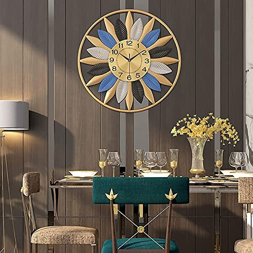 Reloj de Pared de QOHG, decoración en 3D Sunburst Decor Relojes silencioso, diseño de Mediados del Siglo Santo Reserva de la Sala de Estar Relojes de Pared en Silencio