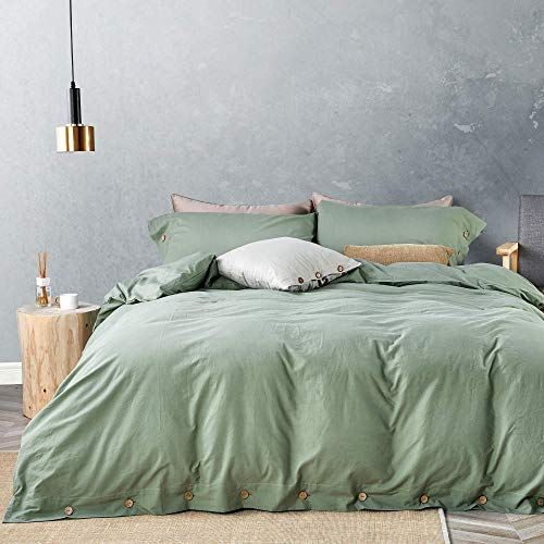 JELLYMONI Green 100% Washed Cotton Duvet Cover Set, 3 Pieces Luxury Soft Bedding Set with Buttons...