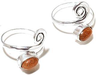 Shivi Pietra di Sole Dorata Coppia di Anelli Toe per Ragazze, Regolabile Tradizionale Stile Indiano Placcato in Argento St...
