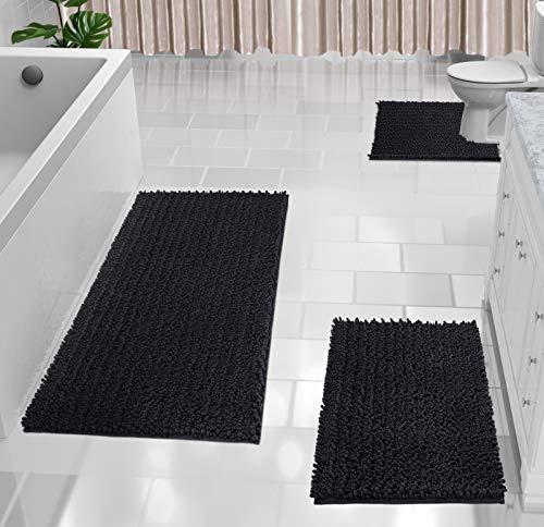 Yimobra 3 Piece Shaggy Chenille Bath Mat Sets, Extra Large Bathroom Mats 44.1x24 + Bathroom Rugs 31.5x19.8 + Toilet Mat 24.4x20.4, Soft, Water Absorbent, Non-Slip, Machine Washable, Black
