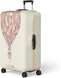 Semtomn Luggage Cover Colorful Hot Abstract Cute Air Balloon Pink Advert Greeting Travel Suitcase Cover Protector Baggage Case Fits 22-24 Inch