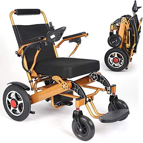 ZDYLM-Y Elektrischer Rollstuhl Faltbar, Kompakter Mobilitätshilfe-Rollstuhl, tragbarer Rollstuhl im Aluminium-Design, passend für jeden Kofferraum,Gold
