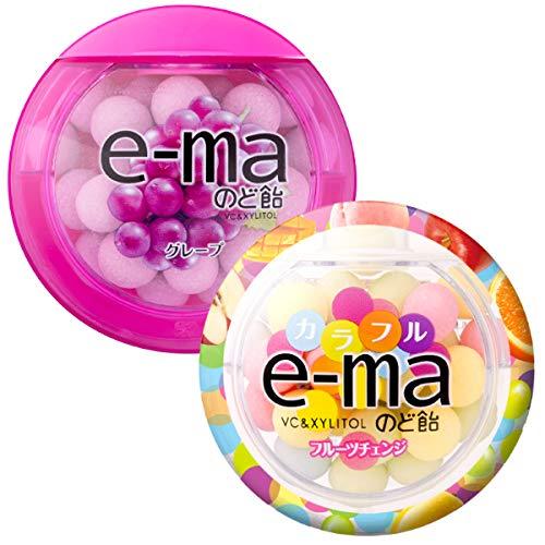 味覚糖 e-ma イーマ のど飴 容器 33g×12個(グレープ6個・カラフルフルーツチェンジ6個)食べ比べ アソート