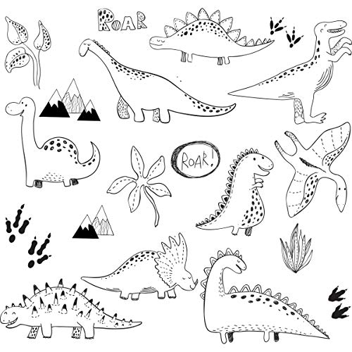 Dinosaur Muurstickers voor Kinderkamers, Kinderkamer, Kinderkamer, Kinderkamer- Stijlvolle Dinosaurussen Nordic Style Stickers. Zwart-wit Slaapkamer Stickers