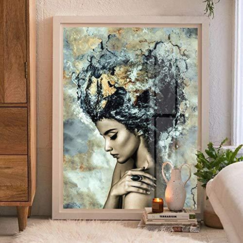 Pintura al óleo abstracta del arte femenino atractivo impresiones de la pintura de la lona y cuadros del arte de la pared del cartel en la decoración del hogar de la sala de estar 60X90 Sin marco