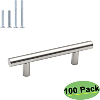 homdiy Brushed Nickel Drawer Pulls - HD201SN Kitchen Cabinet Hardware 3in Hole Centers Cabinet Handles 100 Pack Cabinet Pulls Cabinet Door Handles