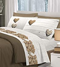 HomeLife Juego de sábanas de algodón con Ositos Fundas de Almohada | Sábana encimera de 250x300, sábana Bajera de 180x200, 2 Fundas de 52x82 – Beige, Cama de 180cm