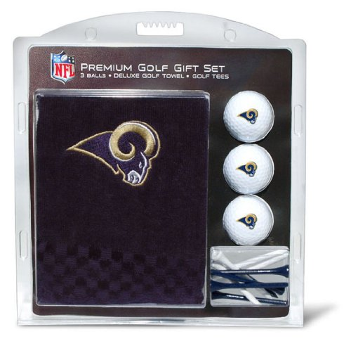 Team Golf NFL Los Angeles Rams Gift Set Embroidered Golf Towel, 3 Golf Balls, and 14 Golf Tees 2-3/4