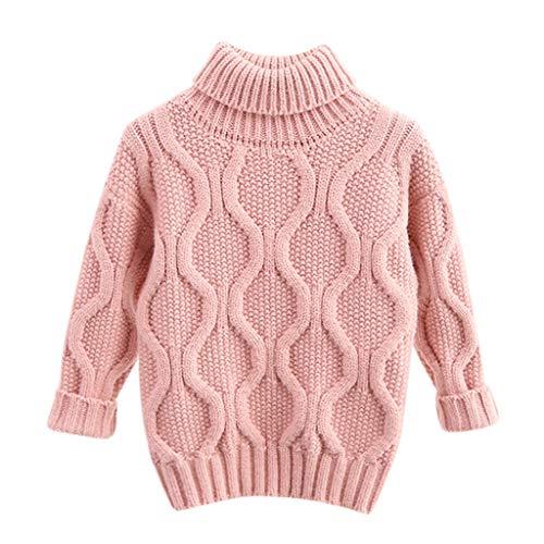FeiliandaJJ Mädchen Jungen Rollkragen Pullover Langarm Herbst Winter Warm Strickpullover Kinder Baby Gestrickt Sweatshirt T-Shirt Sweater Pullis (130(5-6 Jahre), Rosa)