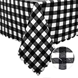 Hiasan Checkered PVC Square Tablecloth 100% Waterproof Spillproof Stain Resistant Wipeable Vinyl Table Cloth for Outdoor Picnic Kitchen Dining, 54 x 54 Inch, Black and White