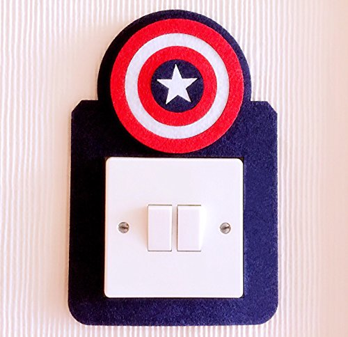 Super Cool 3D Superheroes Light Switch Wall Stickers, Marvel Avengers, Iron Man, Captain of America, Hulk, Thor, Batman, Premium Quality Felt! Kids Boys Girls Room Nursery (Captain of America)