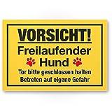 Vorsicht freilaufender Hund (gelb) - Hunde Kunststoff Schild, Hinweisschild Gartentor/Gartenzaun - Türschild Haustüre, Warnschild Abschreckung/Einbruchschutz - Achtung Hund
