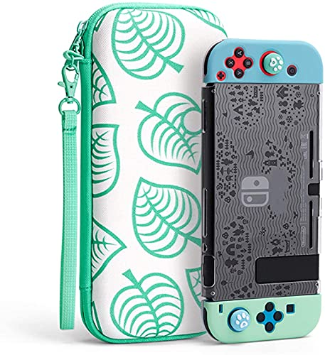 Carrying Case for Nintendo Switch, New Leaf Crossing Design 7 in 1 Hard Shell Travel Case with Screen Protector, Thumb Grips, JoyCon Silicone Cover for Nintendo Switch & Accessories - Turquoise