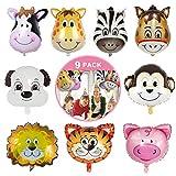 9 globos de animales, tigre vaca mono jirafa/cebra/cerdo/león/burro/perro helio cabeza de animal, kit de globos helio granja zoológico safari globos para fiestas infantiles decoraciones baby shower