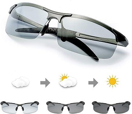 7b69082374 TJUTR Gafas de Sol Hombre Rectangulares Photochromic Polarizadas Lentes  Grises Antideslumbrante -100% Protección UVA