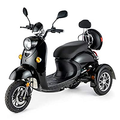 VELECO 3 Wheeled Retro Style Electric Mobility Scooter 650W ZT63 (Black)
