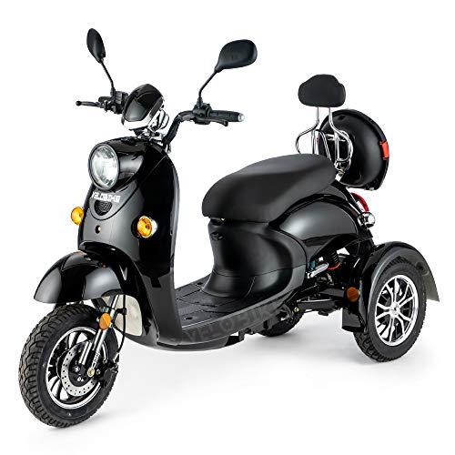 Stylisches Retro Vespa Dreirad Scooter Seniorenmobil Elektrofahrzeug Elektro Scooter ECO Roller 3 Rad Alarm 25km h Schwarz*