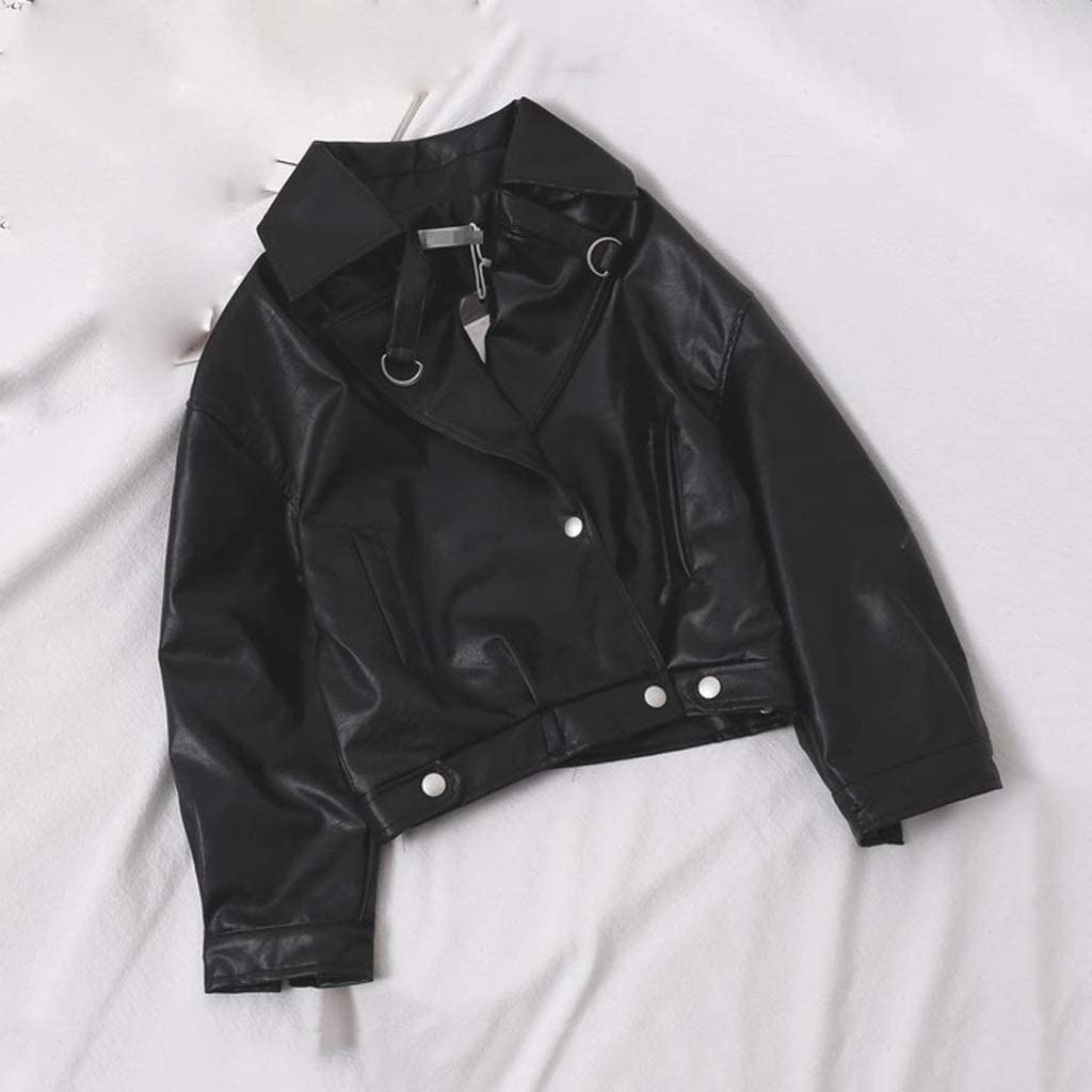 GPPZM Spring Faux Leather Jackets Casual Women Short Vintage Loose Pu Jackets Leather Coats (Size : S Code)