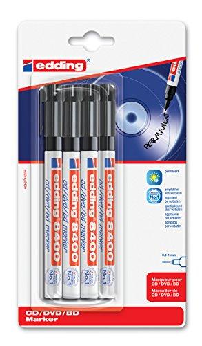 edding 8400 CD-Marker Rundspitze 4-stück schwarz