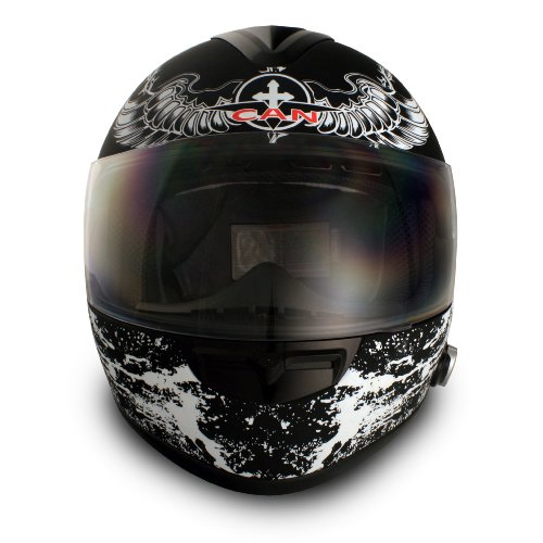 VCAN Blinc 136 Full Face Helmet with Crusader Graphics (Gloss Black, X-Large)