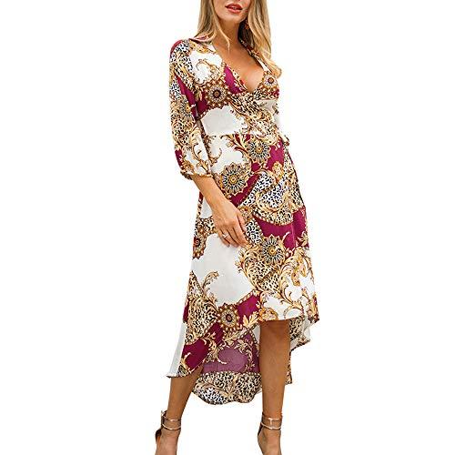 Damen Kleid Sommer Neue Sieben-Punkt-Ärmel Druck V-Ausschnitt Kleid Mit Gebogenen Rock Urlaub Serie Mode Lässige Kleidung,Red,L