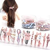 24 Pcs Pearl Hair Ties Hair Ring with Beads Hair Bands Ropes Hair Elastic Bracelet Ponytail Holder Korean Hair Accessories for Women and Girls (24 Pcs Pink&Blue)