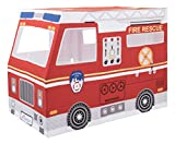 Deluxe Fire Truck Playhouse by Role Play - Premium Indoor and Outdoor Fire Truck Play Tent for Kids - 100% Cotton Canvas and Durable Steel Frame - Free Plush Toys Included - MADE IN INDIA