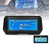 HYWOT 12V de la Motocicleta del velocímetro Digital, cuentakilómetros retroiluminado tacómetro Digital con Sensor de Velocidad 2 y 4 Cilindros,Negro