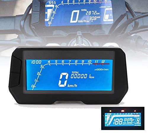 HYWOT 12V de la Motocicleta del velocímetro Digital, cuentakilómetros retroiluminado tacómetro Digital con Sensor de Velocidad 2 y 4 Cilindros