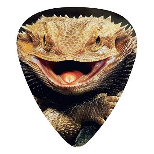 12 púas de guitarra con diseño de dragón barbudo para guitarra eléctrica, acústica o bajo, mediana, pesada 0,46 0,71 0,96 mm