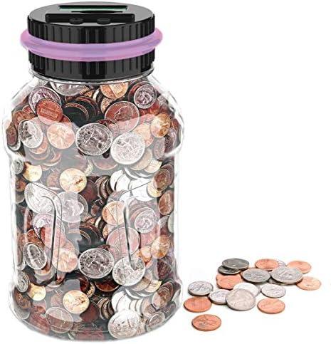 GIFTiz Large Digital Coin Counting Money Saving Jar Change Counter Piggy Bank for Kids Adults product image