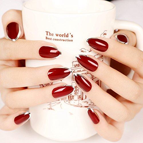 YUNAI Burgund/Tiefrot mit Silber Gefälschter Nagel vollständige Abdeckung Stilett Falsche Nägel