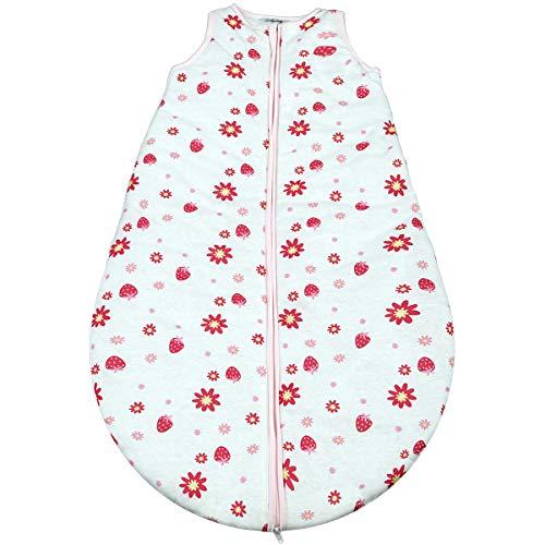 Gräfenstayn® Baby-Schlafsack ganzjährig für Jungen und Mädchen - verschiedene Motive und Größen - mit integriertem Reißverschluss - super weich und atmungsaktiv (Rosa-Weiss, 70cm)
