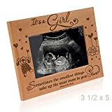 KATE POSH Baby Engraved Wood Picture Frame - Sometimes The Smallest Things take up The Most Room in Your Heart - Winnie The Pooh Sonogram Picture Frame, New Mom, New Dad (3 1/2 x 5 - It's a Girl)