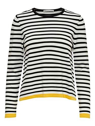Only Onlsuzana L/s Pullover Knt Noos Felpa, Multicolore (Cloud Dancer Stripes: W. Black/Solar Power), 46 (Taglia Produttore: Large) Donna