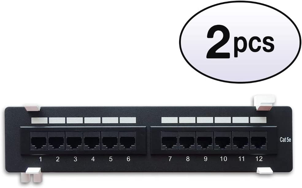 GOWOS 2 Pack Cat.5E 110 Ranking TOP10 Type 12Port w Vertical Free Shipping Cheap Bargain Gift Patch Panel Bra