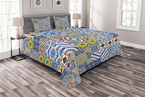 Lunarable Moroccan Bedspread, Moroccan Classic Mosaic Tile Inspired Patchwork Style Pattern Artwork Print, Decorative Quilted 3 Piece Coverlet Set with 2 Pillow Shams, King Size, Mustard Blue