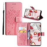 JZ [Cat & Tree Wallet Funda para For LG G Stylo LS770/G4 Stylus PU Leather Wallet Flip Cover - Pink