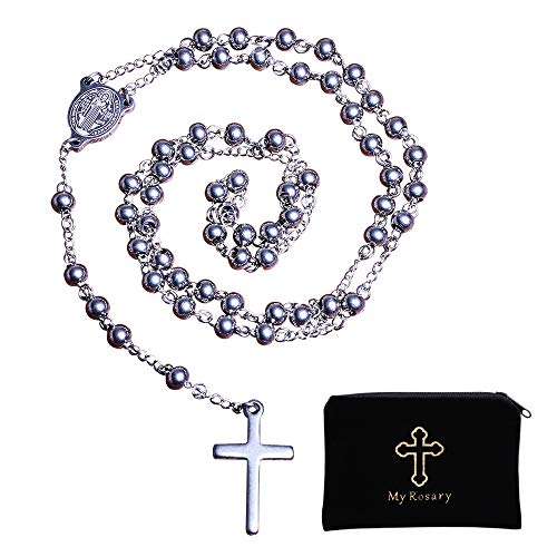 30' Stainless Steel Rosary Beads Necklace for Catholic Pray Use with Saint Benedict Engraved