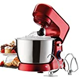 Cooks Professional Electric Compact Stand Mixer Whisker Beater 4.5 Litre Bowl 1000W with 3 Mixing Attachments and Pulse Function (Red)